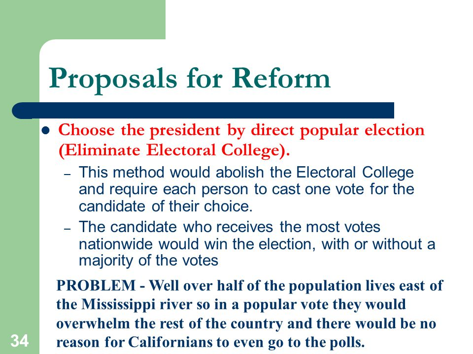 Proposals for Reform Choose the president by direct popular election (Eliminate Electoral College).
