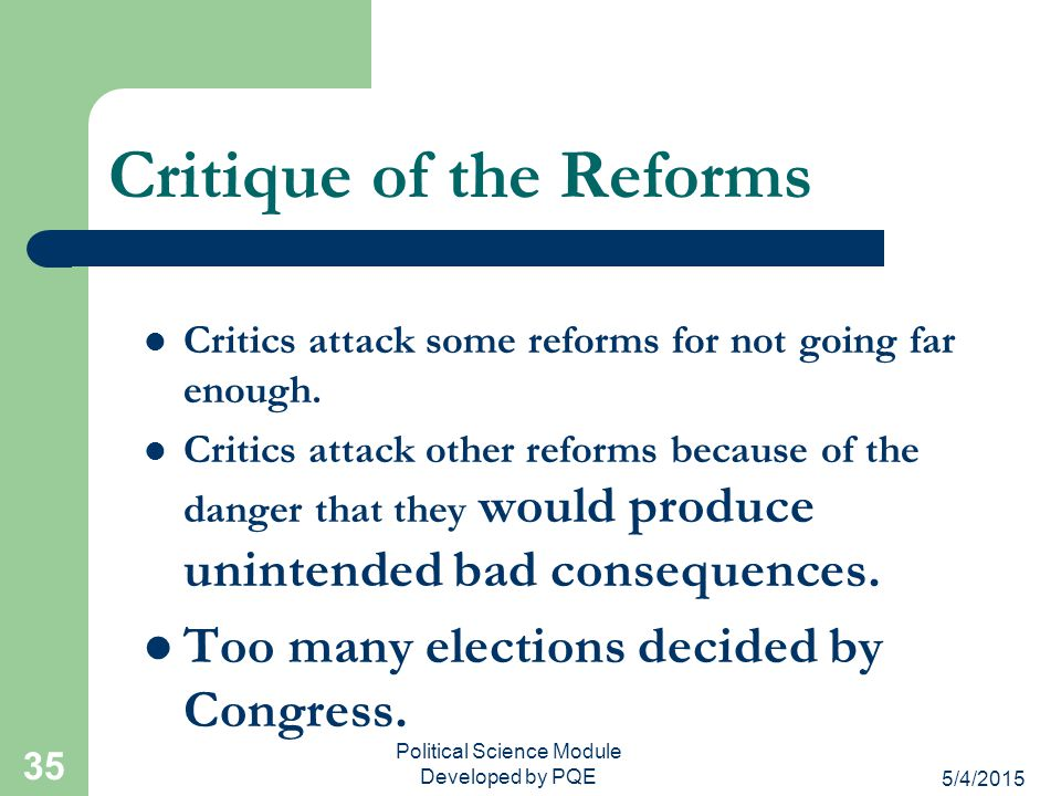 Critique of the Reforms
