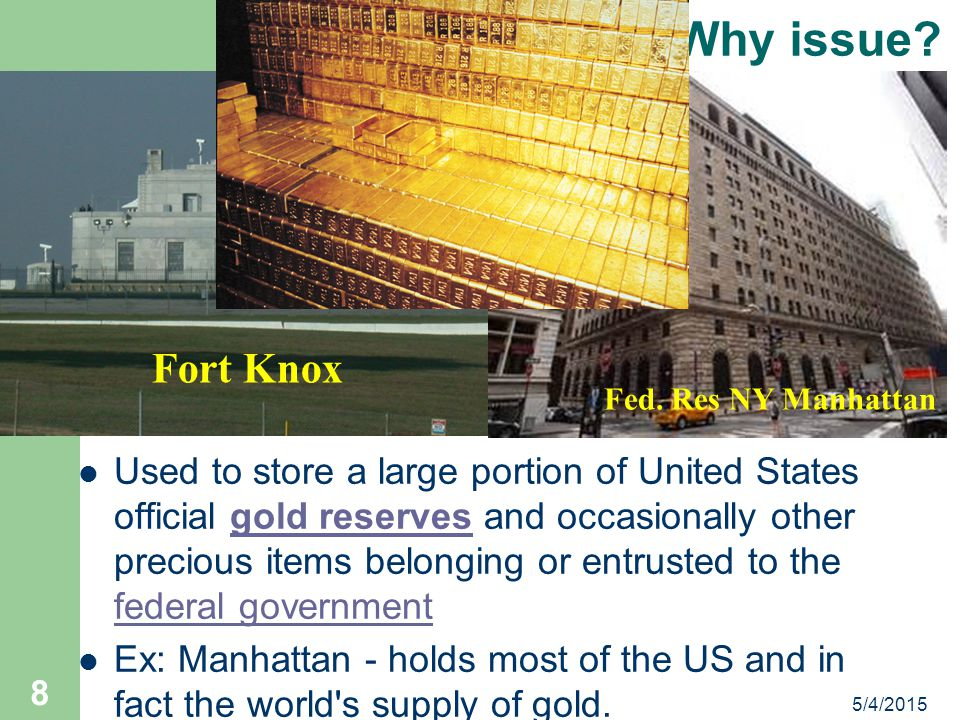 Why issue Fort Knox. Fed. Res NY Manhattan.
