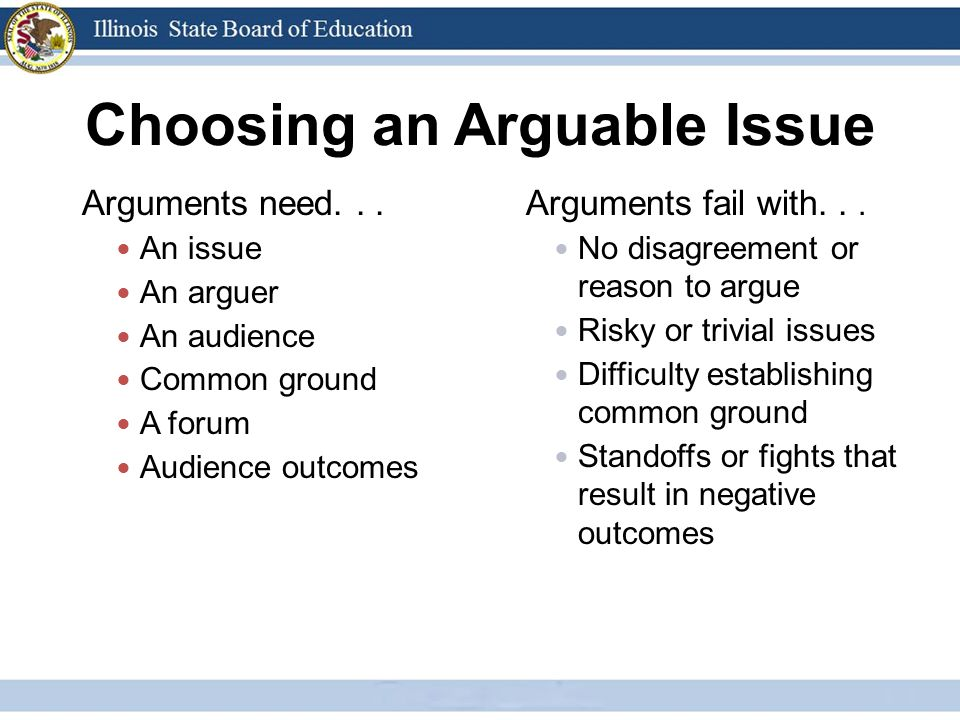 Choosing an Arguable Issue