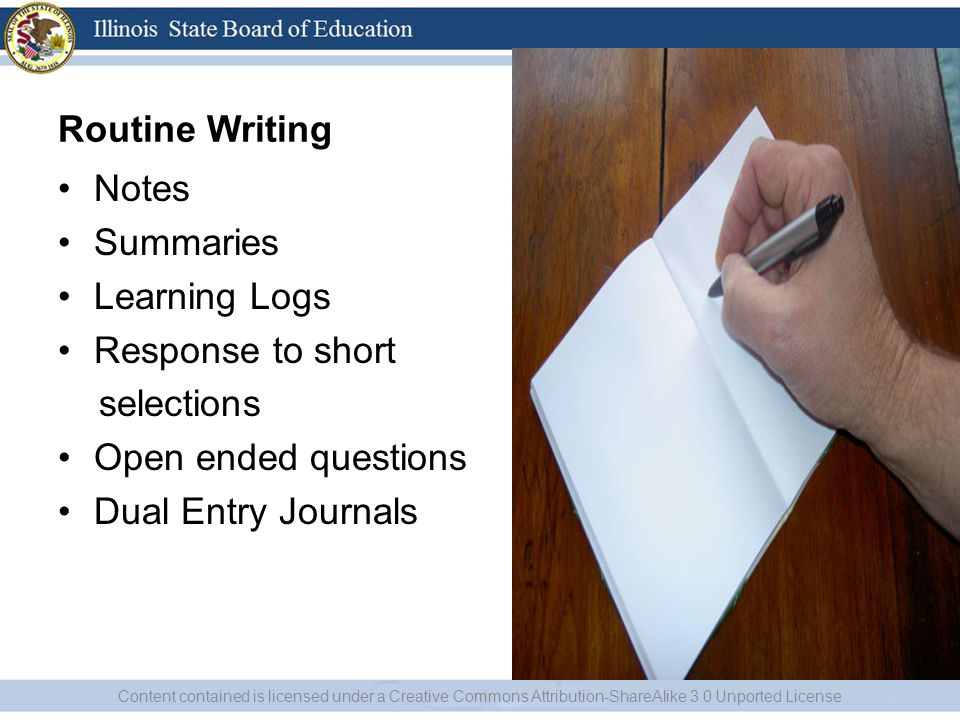 Routine Writing Notes Summaries Learning Logs Response to short