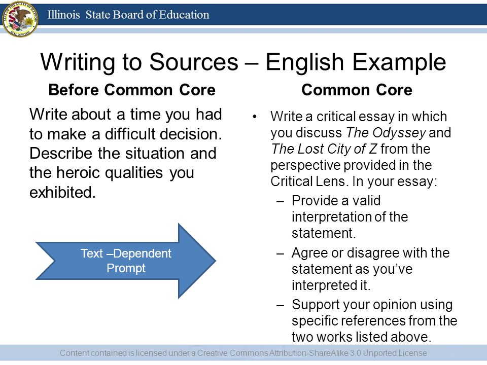Writing to Sources – English Example