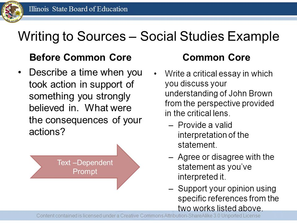 Writing to Sources – Social Studies Example