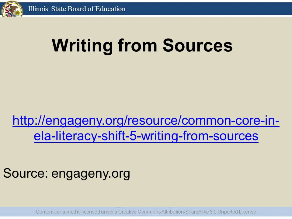 http://engageny.org/resource/common-core-in-ela-literacy-shift-5-writing-from-sources Source: engageny.org.