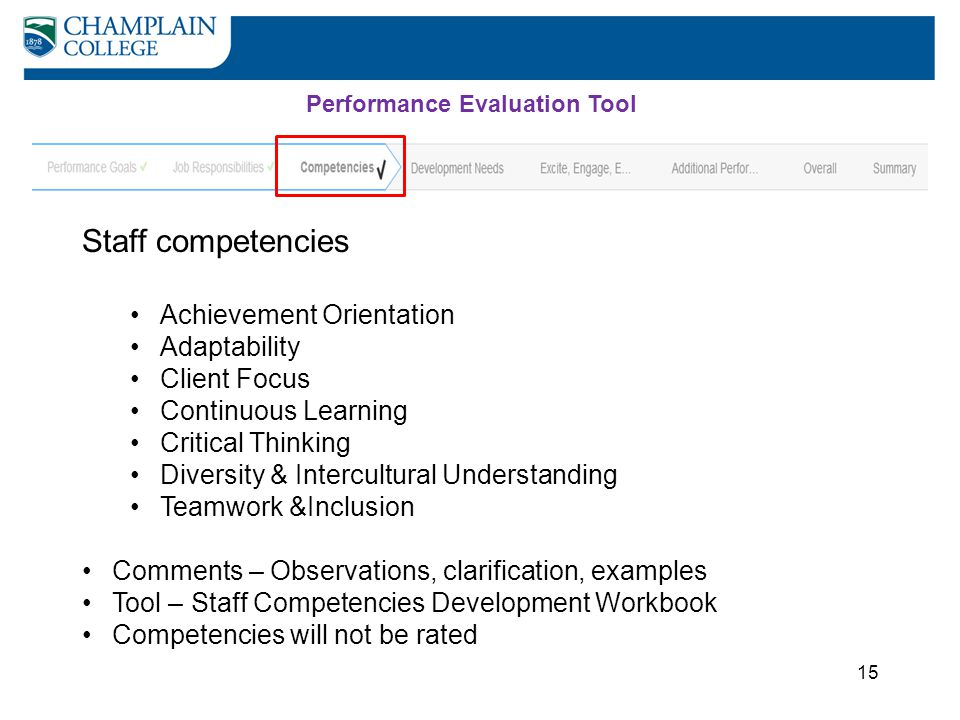 Staff competencies Achievement Orientation Adaptability Client Focus