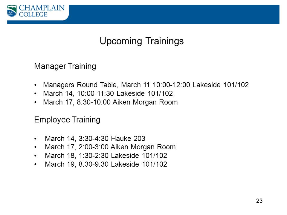 Upcoming Trainings Manager Training Employee Training