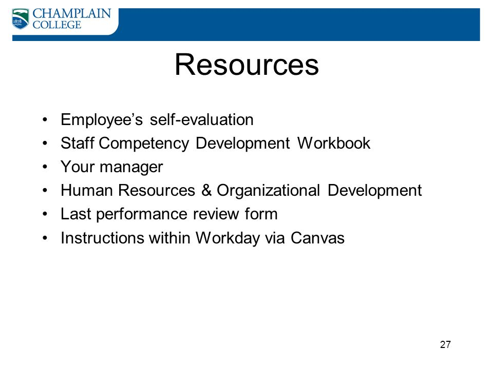 Resources Employee's self-evaluation