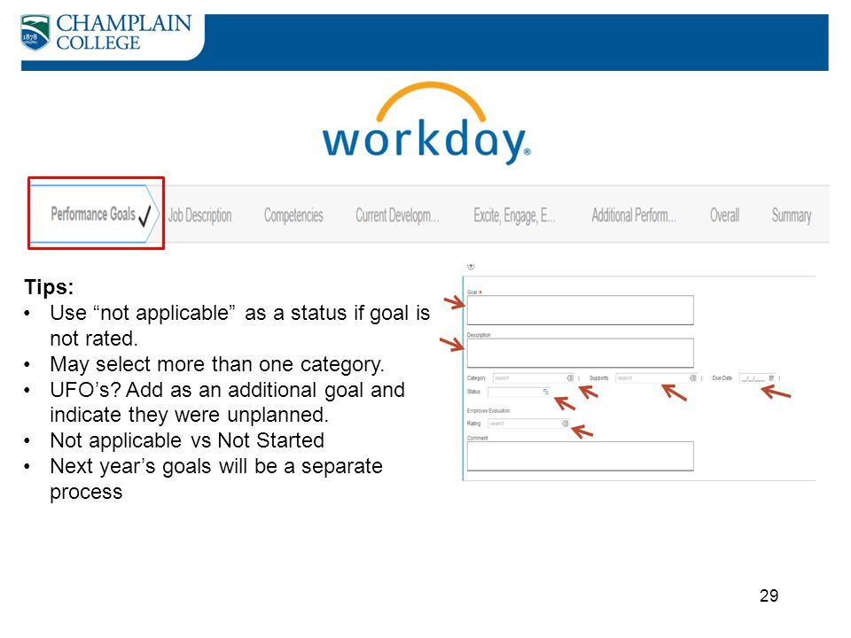 Tips: Use not applicable as a status if goal is not rated. May select more than one category.