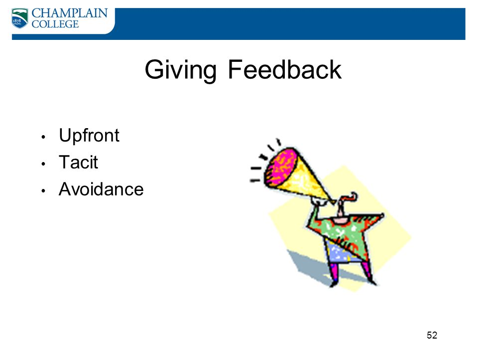 Giving Feedback Upfront Tacit Avoidance
