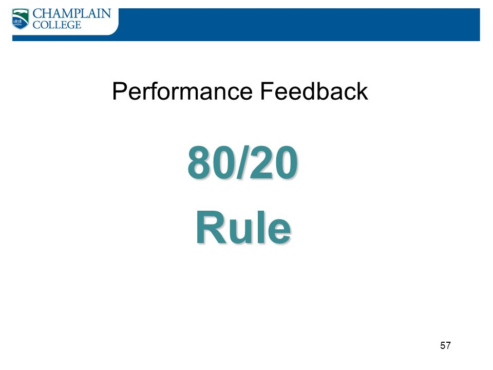 Performance Feedback 80/20 Rule