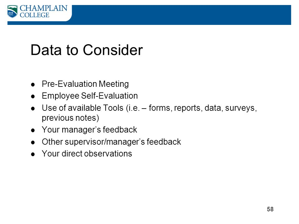 Data to Consider Pre-Evaluation Meeting Employee Self-Evaluation