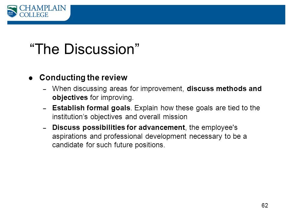 The Discussion Conducting the review