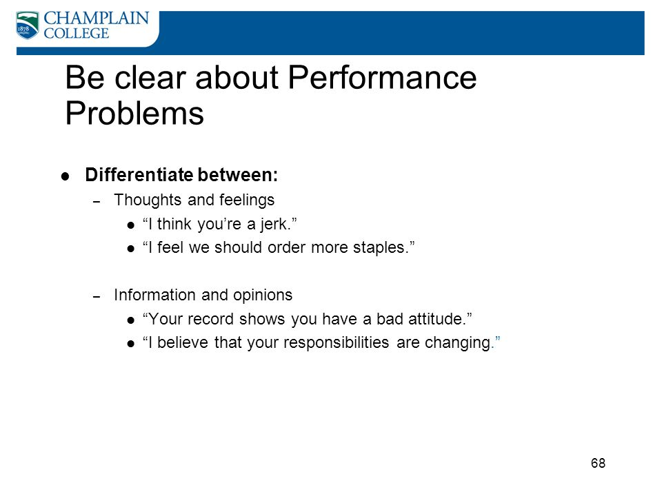 Be clear about Performance Problems