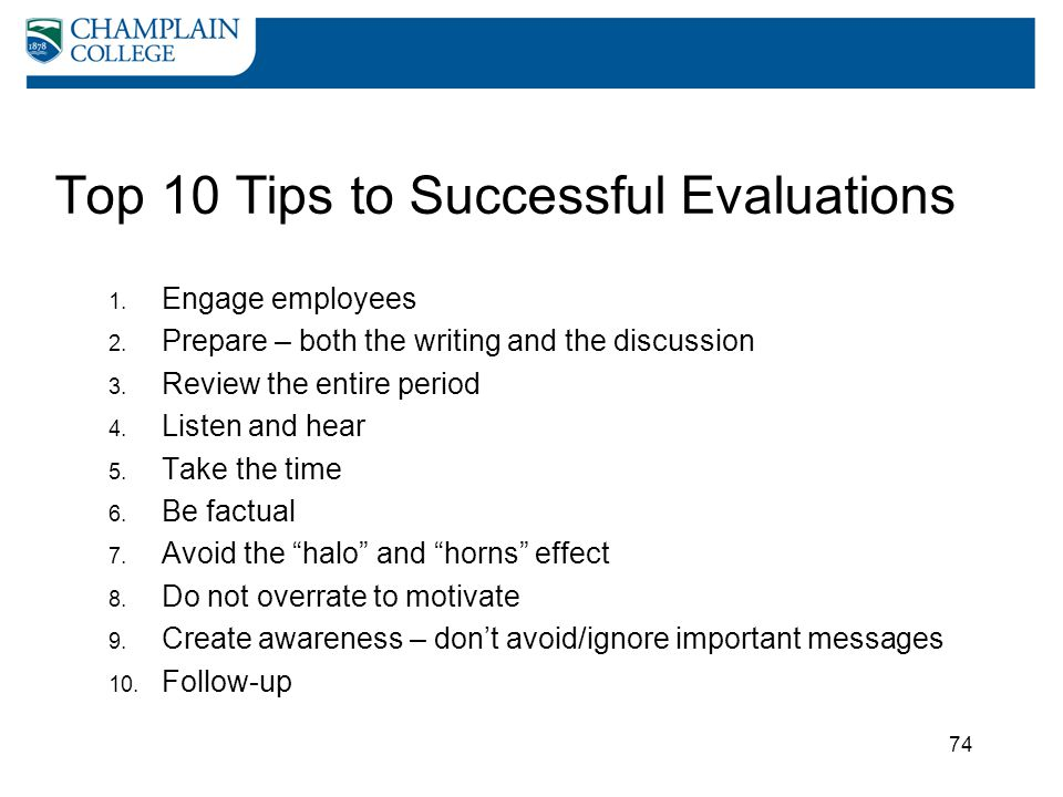 Top 10 Tips to Successful Evaluations