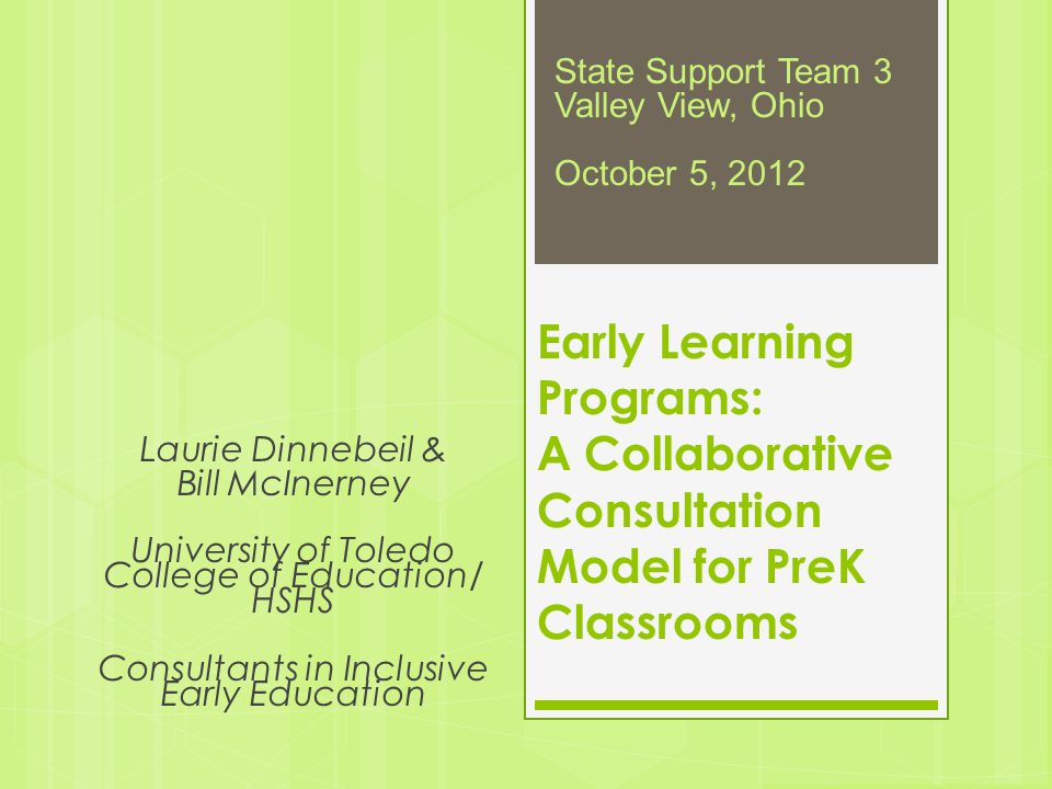 State Support Team 3 Valley View, Ohio. October 5, 2012. Early Learning Programs: A Collaborative Consultation Model for PreK Classrooms.