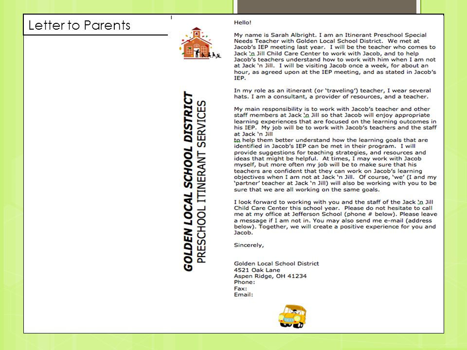Letter to Parents