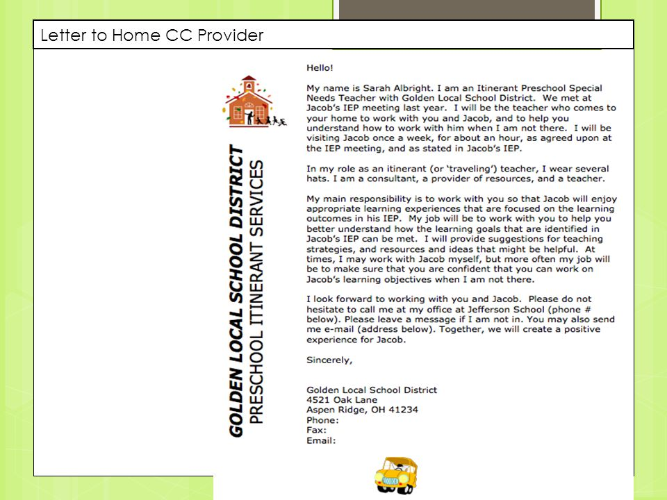 Letter to Home CC Provider