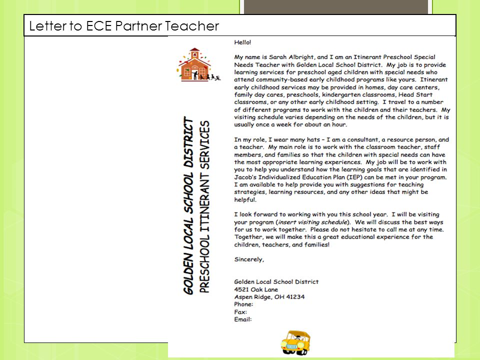 Letter to ECE Partner Teacher