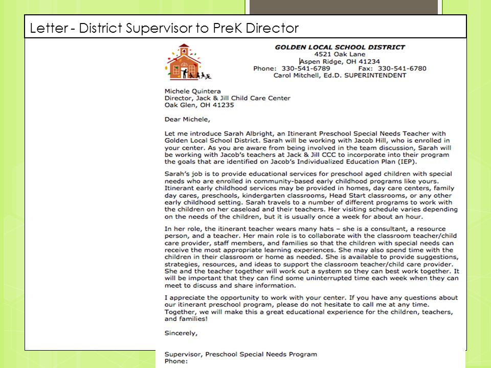 Letter - District Supervisor to PreK Director