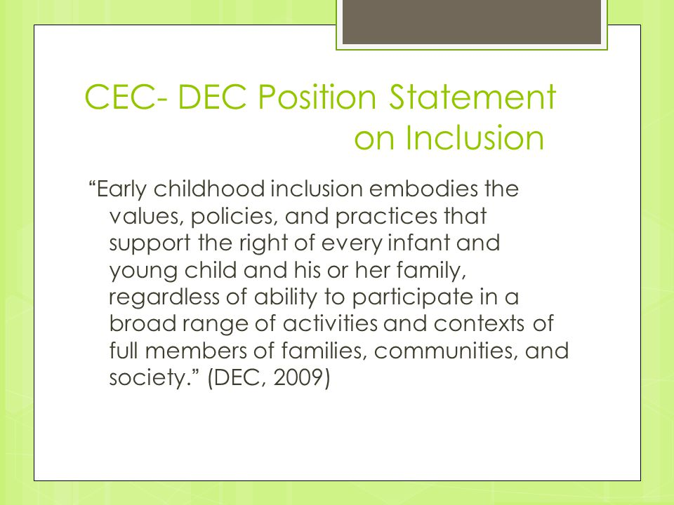 CEC- DEC Position Statement on Inclusion