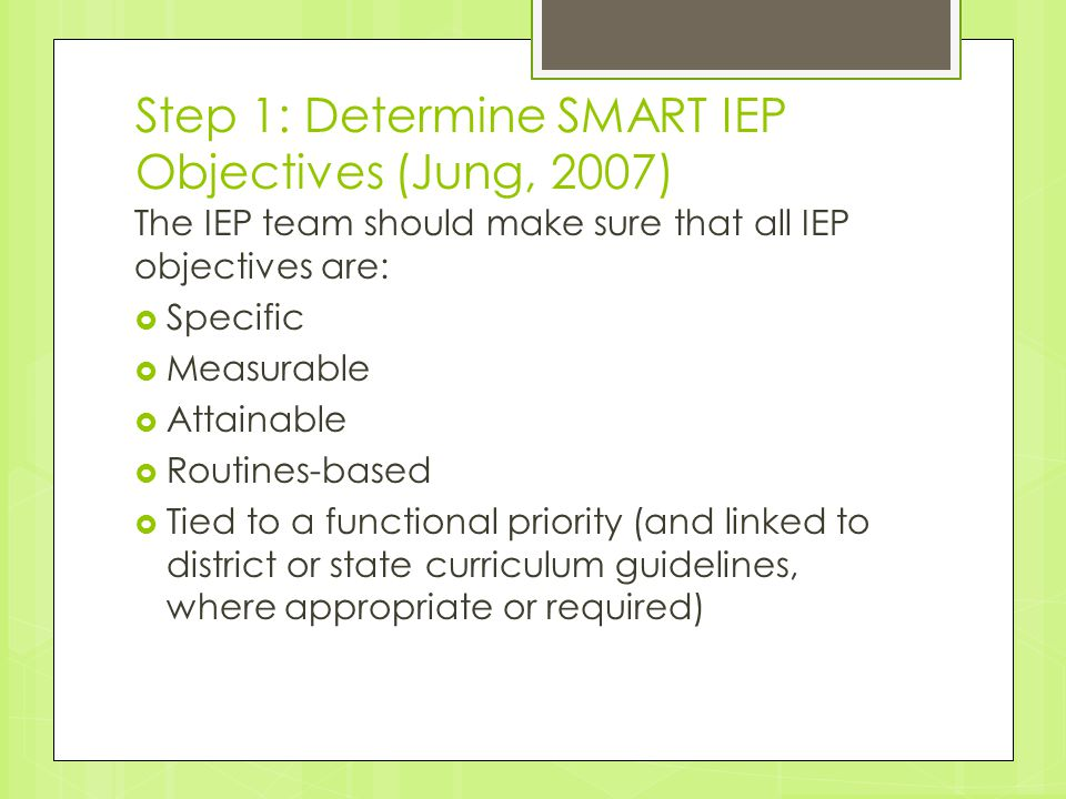 Step 1: Determine SMART IEP Objectives (Jung, 2007)