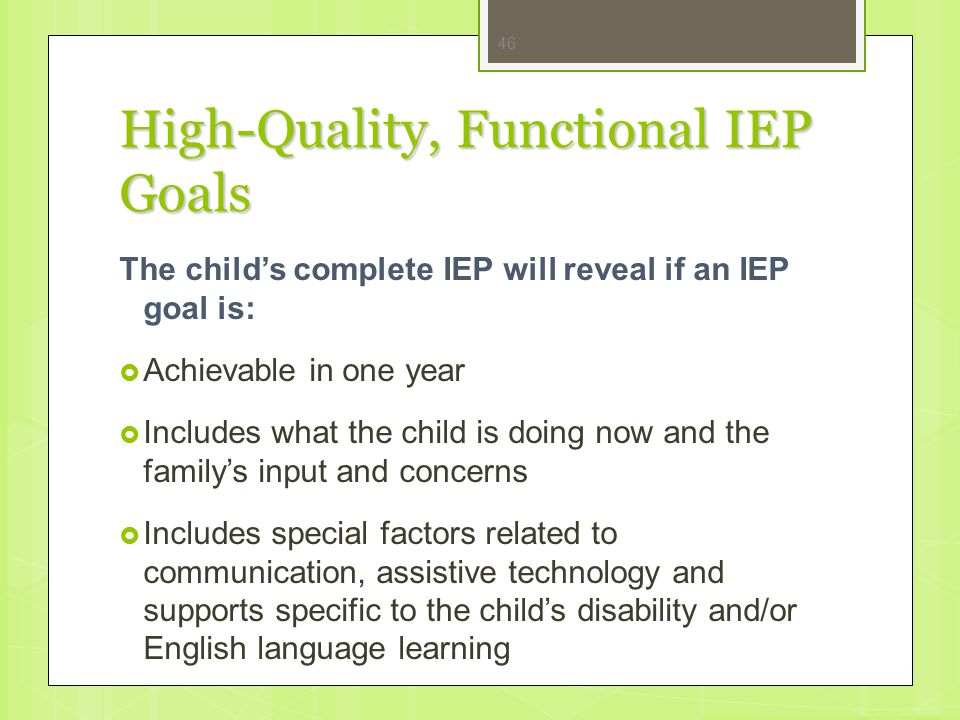 High-Quality, Functional IEP Goals
