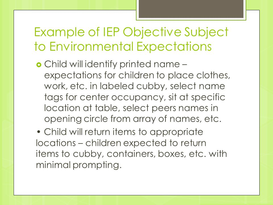 Example of IEP Objective Subject to Environmental Expectations