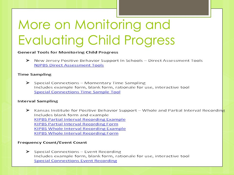 More on Monitoring and Evaluating Child Progress