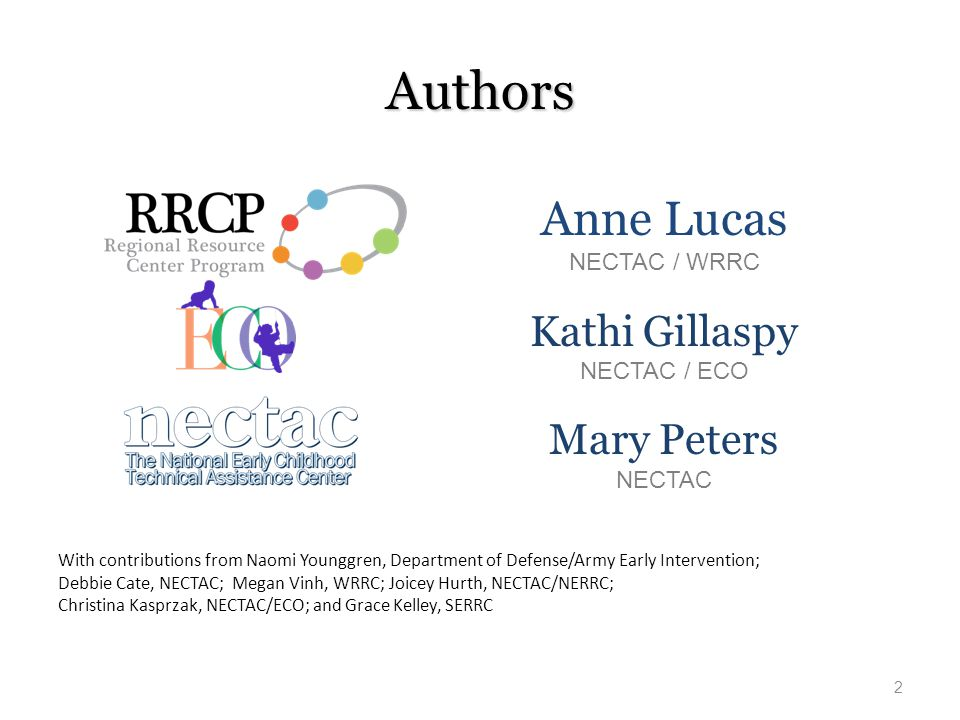 Authors Anne Lucas Kathi Gillaspy Mary Peters NECTAC / WRRC