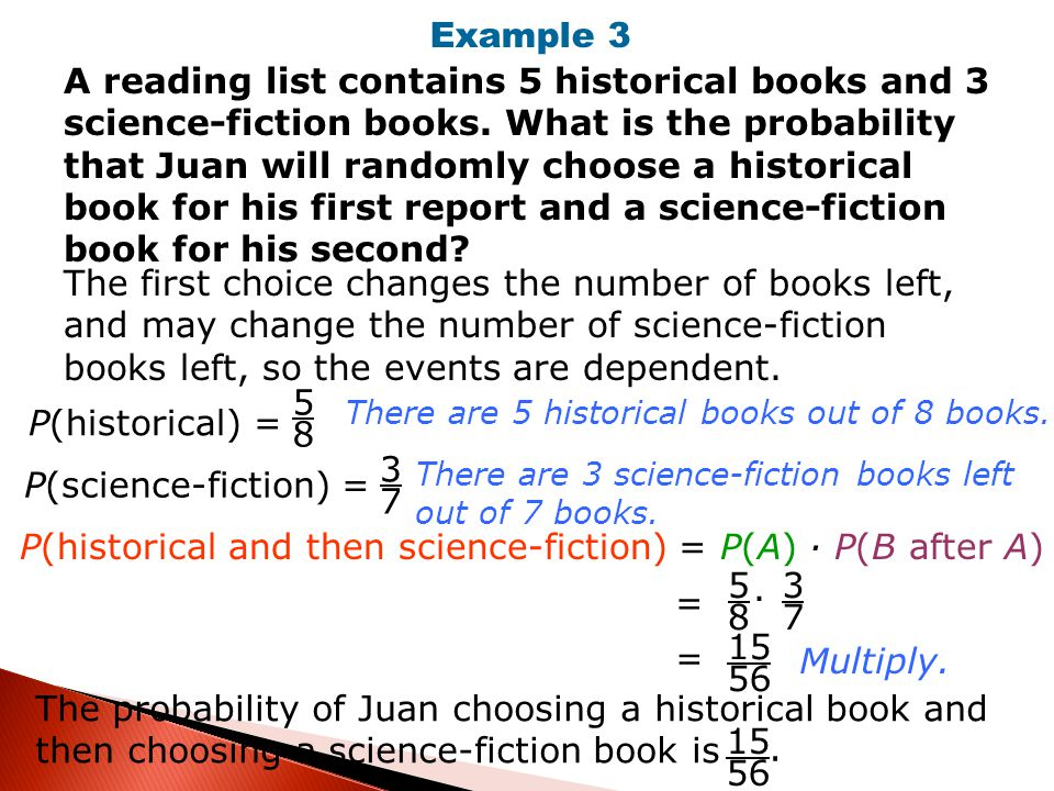 P(historical and then science-fiction) = P(A) · P(B after A)