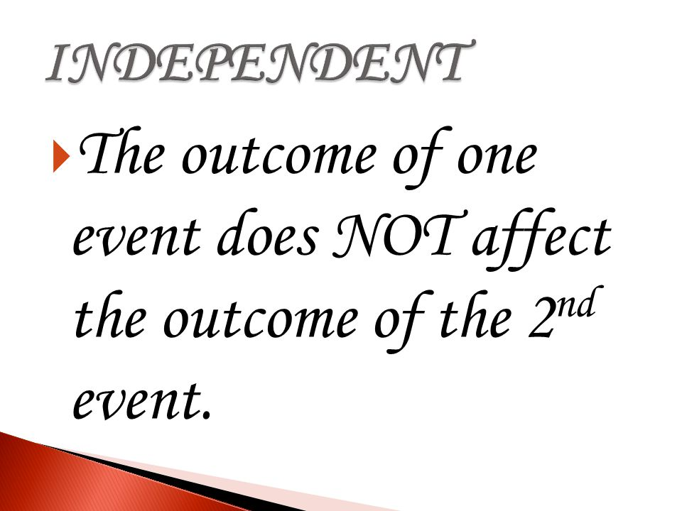 The outcome of one event does NOT affect the outcome of the 2nd event.