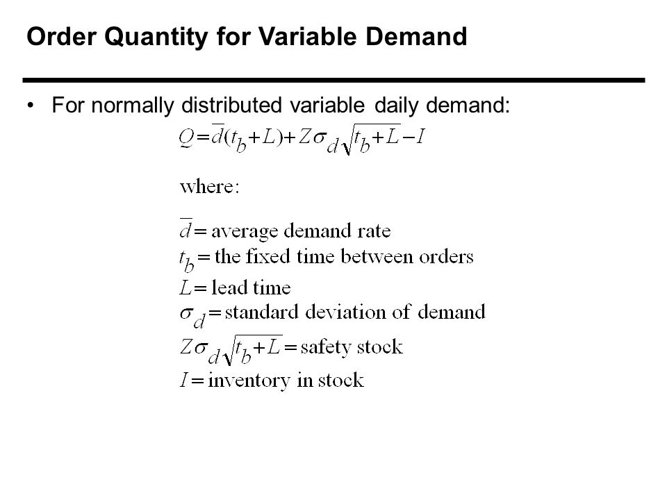 Order Quantity for Variable Demand