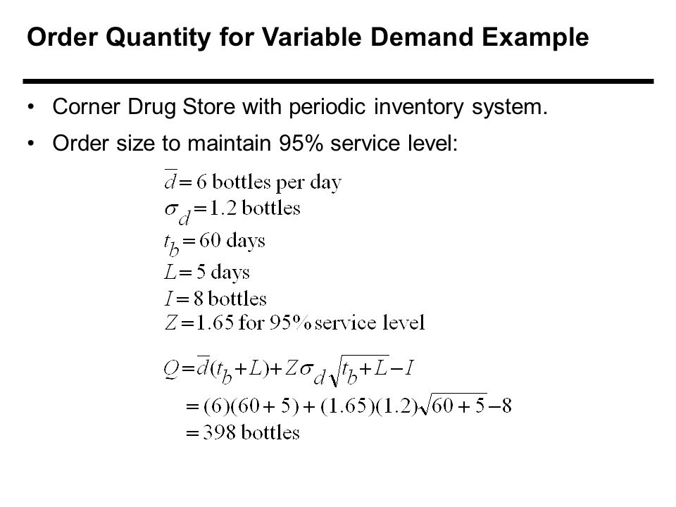 Order Quantity for Variable Demand Example