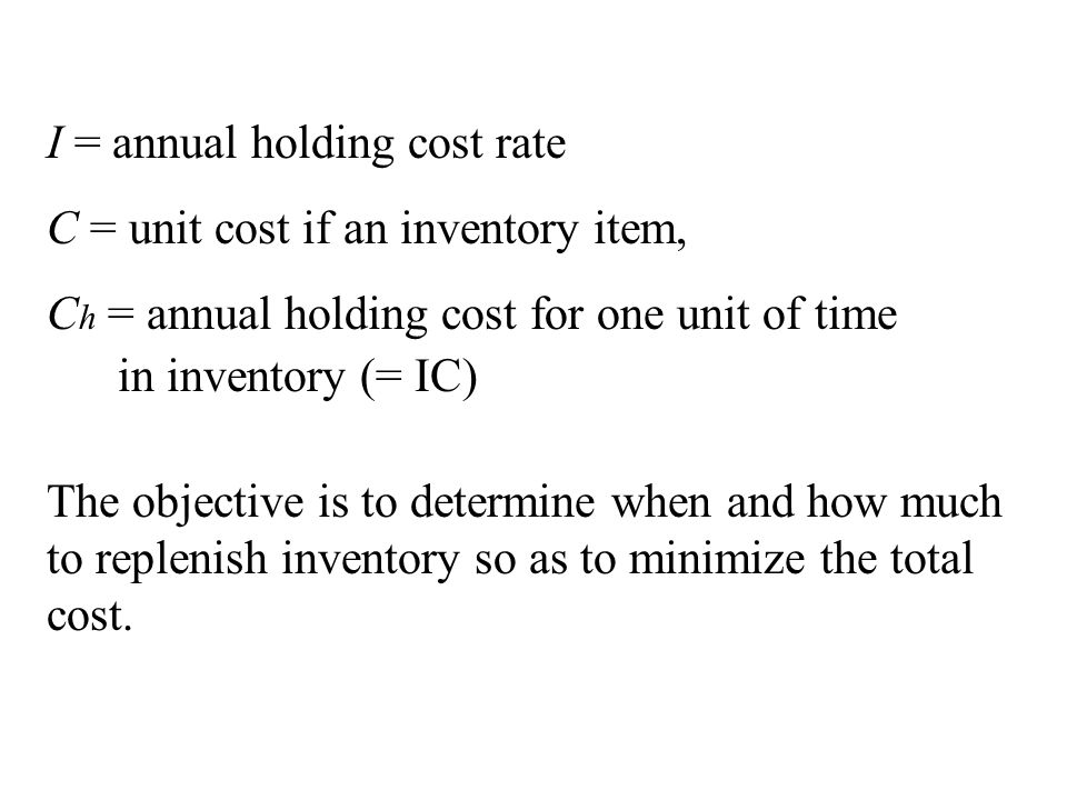 I = annual holding cost rate