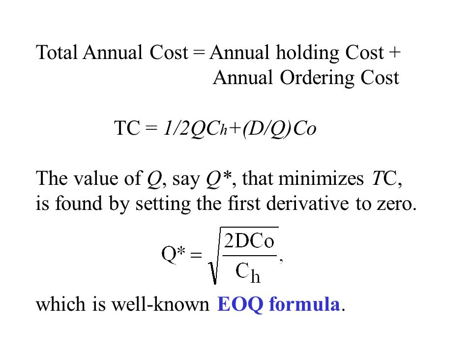 Total Annual Cost = Annual holding Cost +