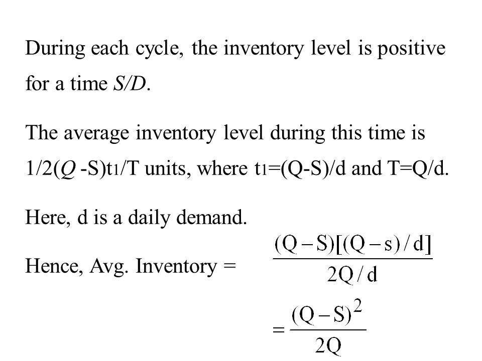 During each cycle, the inventory level is positive for a time S/D.