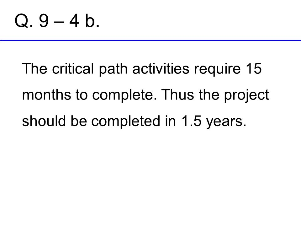 Q. 9 – 4 b. The critical path activities require 15 months to complete.