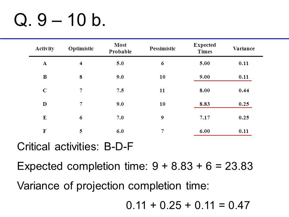 Q. 9 – 10 b. Critical activities: B-D-F