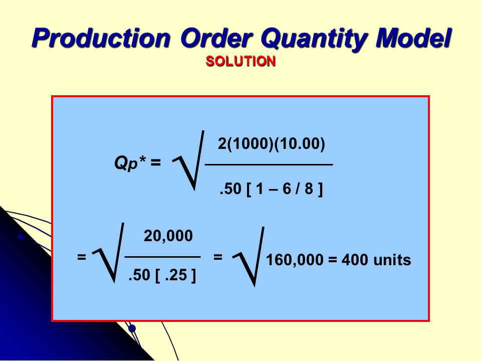 Production Order Quantity Model SOLUTION