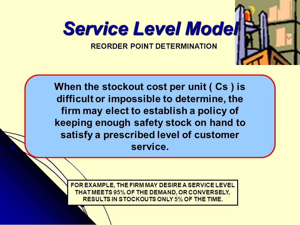Service Level Model When the stockout cost per unit ( Cs ) is