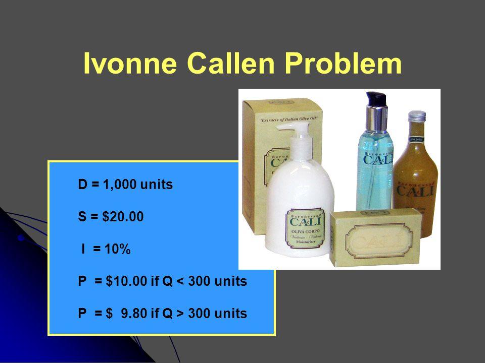 Ivonne Callen Problem D = 1,000 units S = $20.00 I = 10%