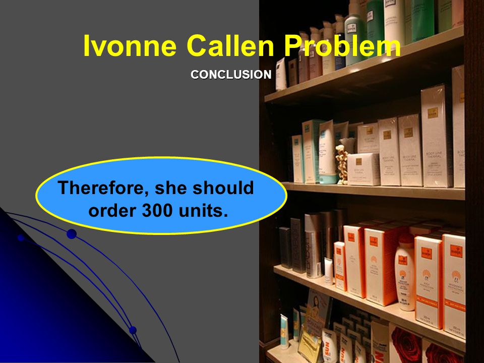 Ivonne Callen Problem Therefore, she should order 300 units.