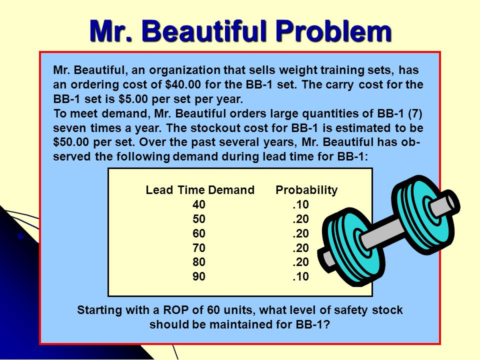 Mr. Beautiful Problem Mr. Beautiful, an organization that sells weight training sets, has.