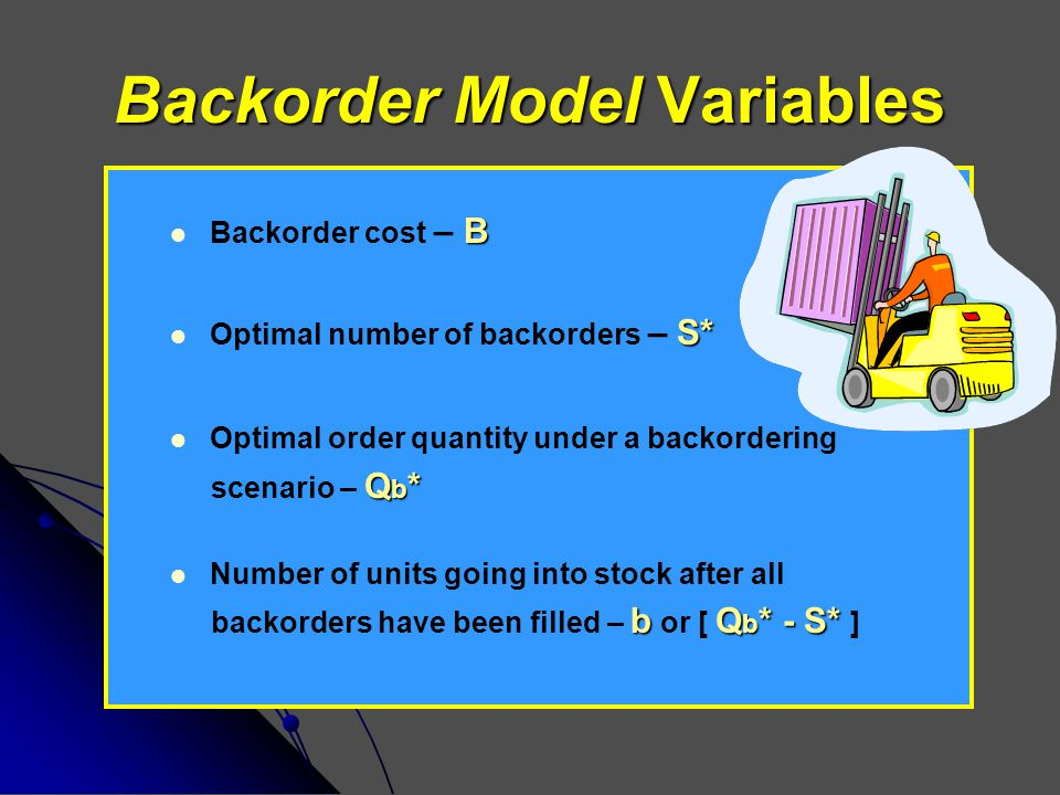 Backorder Model Variables