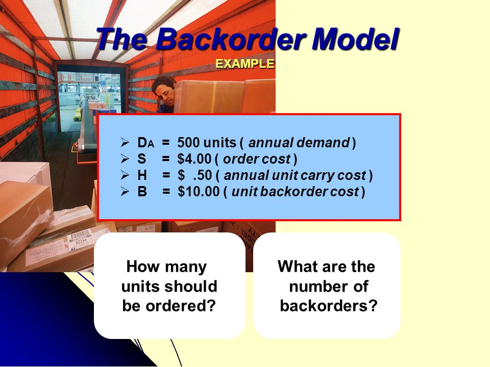 The Backorder Model EXAMPLE