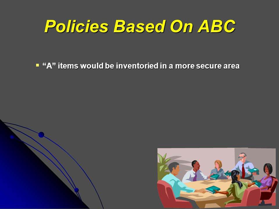 Policies Based On ABC A items would be inventoried in a more secure area