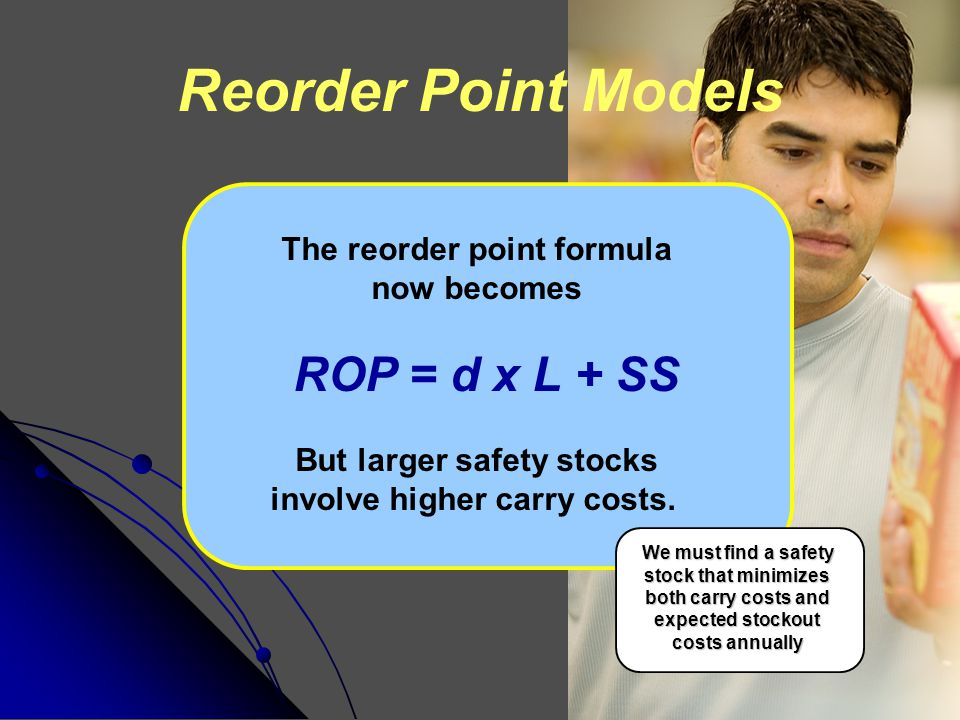 Reorder Point Models The reorder point formula now becomes