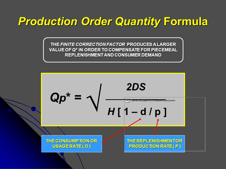 Production Order Quantity Formula