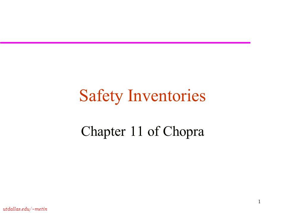 Safety Inventories Chapter 11 of Chopra