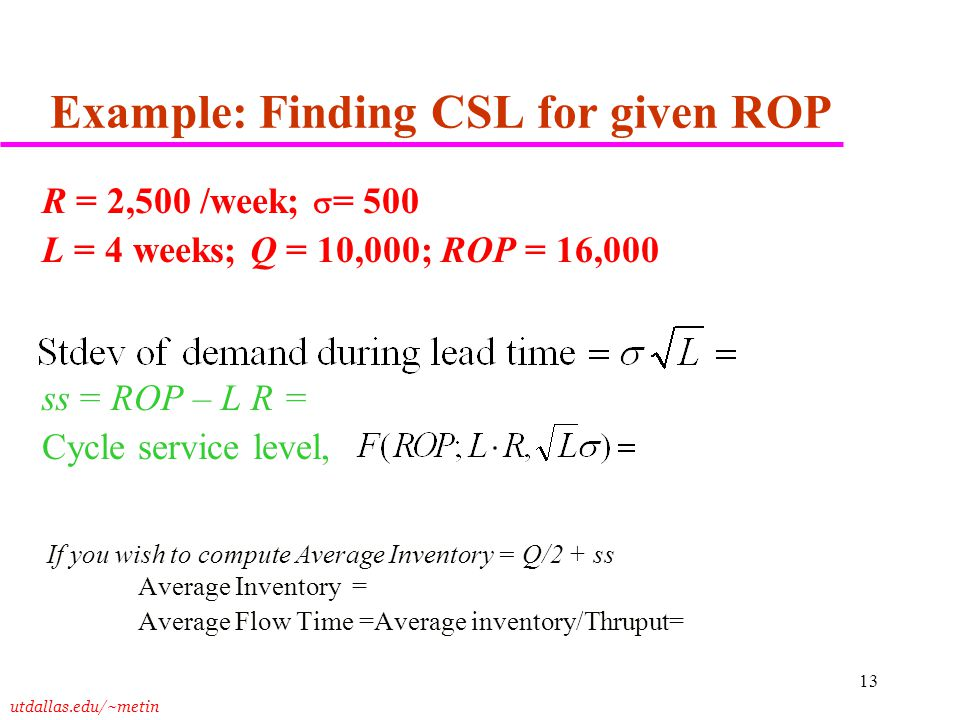 Example: Finding CSL for given ROP